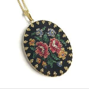 Vintage Necklace Needlepoint Mirror Pendant Chain
